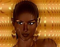 妇女的面孔的现代数字式艺术图象,关闭有五颜六色的抽象背景 免版税库存照片