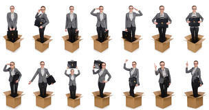 妇女的综合图象有箱子的在白色 免版税图库摄影