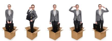 妇女的综合图象有箱子的在白色 免版税库存照片