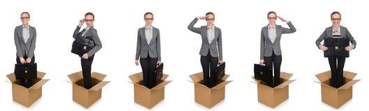 妇女的综合图象有箱子的在白色 库存照片