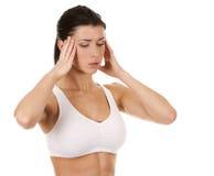 妇女的头疼 免版税库存照片