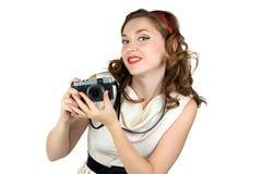 妇女的画象有减速火箭的照相机的 库存照片