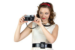 妇女的画象有照相机的 免版税图库摄影