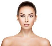 妇女的画象有秀丽面孔的 免版税库存照片