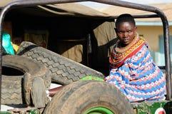 妇女的画象从桑布鲁部落的在肯尼亚 免版税库存图片