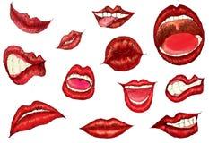 妇女的嘴 库存例证