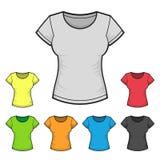 妇女的T恤杉设计模板彩色组 向量 免版税库存图片