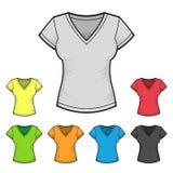 妇女的V脖子T恤杉设计模板彩色组 库存照片