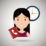妇女目录电话时钟 向量例证