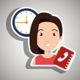 妇女目录电话时钟 库存例证