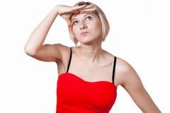 妇女看对她的未来 免版税库存图片