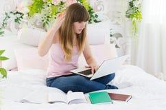 妇女研究膝上型计算机 免版税图库摄影
