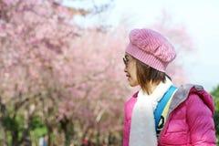妇女礼服绿色叶子桃红色花 图库摄影