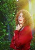 妇女神秘的森林 图库摄影
