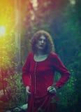 妇女神秘的森林 免版税库存照片