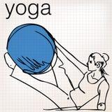 妇女稳定球健身房健身瑜伽的普拉提例证 免版税图库摄影