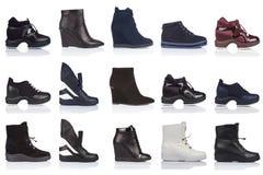 妇女穿上鞋子在白色背景的汇集,与光滑的表面上的一个阴影 正面图 15个片断 库存照片
