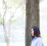 妇女站立接近树感觉由l的她的eys放松 库存图片