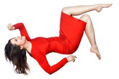 妇女笑和飞行 免版税图库摄影