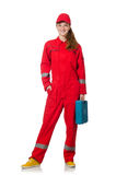 妇女红色工作服的建筑工人 免版税库存图片