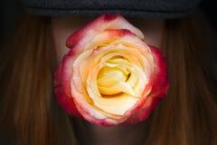 妇女红色玫瑰减速火箭的帽子 库存图片