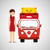 妇女红色礼服vintage van camper手提箱 库存照片