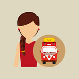 妇女红色礼服vintage van camper手提箱 免版税库存照片