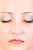 妇女纵向有接近的眼睛的 库存图片