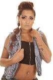 妇女纹身花刺关闭举行夹克 库存照片