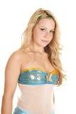 妇女美人鱼服装上面 免版税库存照片