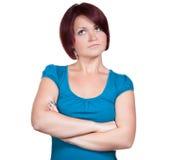 妇女考虑不同的事 免版税库存照片