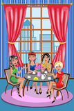 妇女聊天咖啡的妇女朋友放松咖啡馆 免版税图库摄影