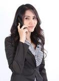妇女联系的电话 免版税图库摄影