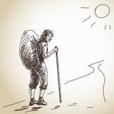 妇女背包徒步旅行者 向量例证