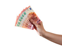 妇女胳膊拿着十张欧洲钞票 图库摄影