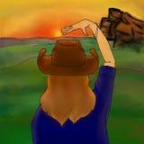 妇女脱她的帽子 免版税库存照片