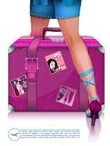妇女腿和旅行手提箱 汽车城市概念都伯林映射小的旅行 向量例证
