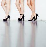 妇女腿的不同的类型对在hight的停顿在白色背景和地板,变化人的黑鞋子 免版税库存照片