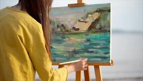 妇女艺术家室外绘画的风景 股票视频