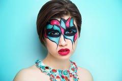 妇女艺术组成蓝色红色 库存图片