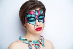 妇女艺术组成蓝色红色 库存照片