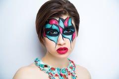 妇女艺术组成蓝色红色 免版税库存图片