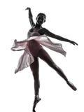妇女芭蕾舞女演员跳芭蕾舞者跳舞剪影 免版税图库摄影