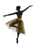妇女芭蕾舞女演员跳芭蕾舞者跳舞剪影 库存照片