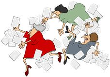 妇女落的办公室工作者滑倒,绊倒和 库存照片