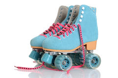 妇女蓝色方形字体溜冰鞋 库存图片
