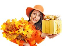 妇女藏品礼物盒。 免版税库存图片