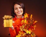 妇女藏品礼物盒。 免版税图库摄影