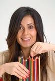 妇女蜡笔。 库存图片