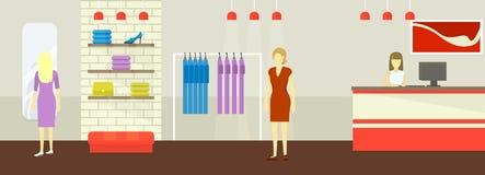 妇女衣物和鞋子精品店商店的内部一个平的样式的 妇女s服装店的顾客 向量 库存照片